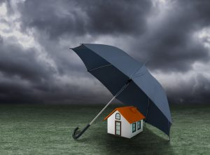Umbrella covering a home represents home warranty by Thistle Construction
